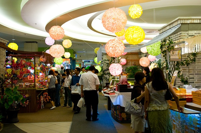 Consumer shopping for mooncakes and lanterns for the upcoming mid autumn festival in Mid Valley Megamall, Kuala Lumpur.