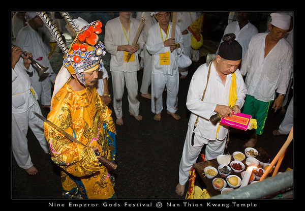 """The """"nine emperor god"""" blessing the 4 corners of the firewalking ground."""