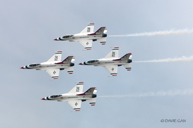 Thunderbirds in diamond pass in review formation.