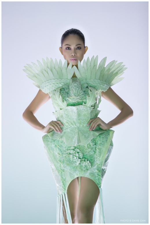 One of my favorites to win the Emerging Designer finals. The design was thoughtful, meticulous, intricate and the choice of recyclable materials and color was excellent.