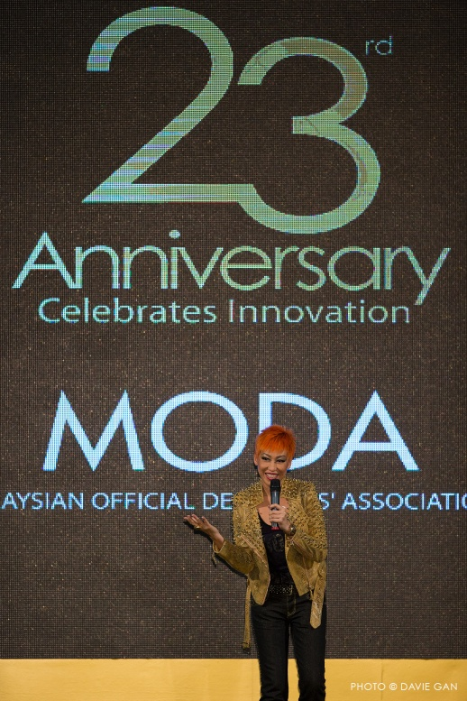 "Gillian Hung or popularly known as ""Mama G"" with her opening speech at the MODA's 23rd Anniversary Gala"